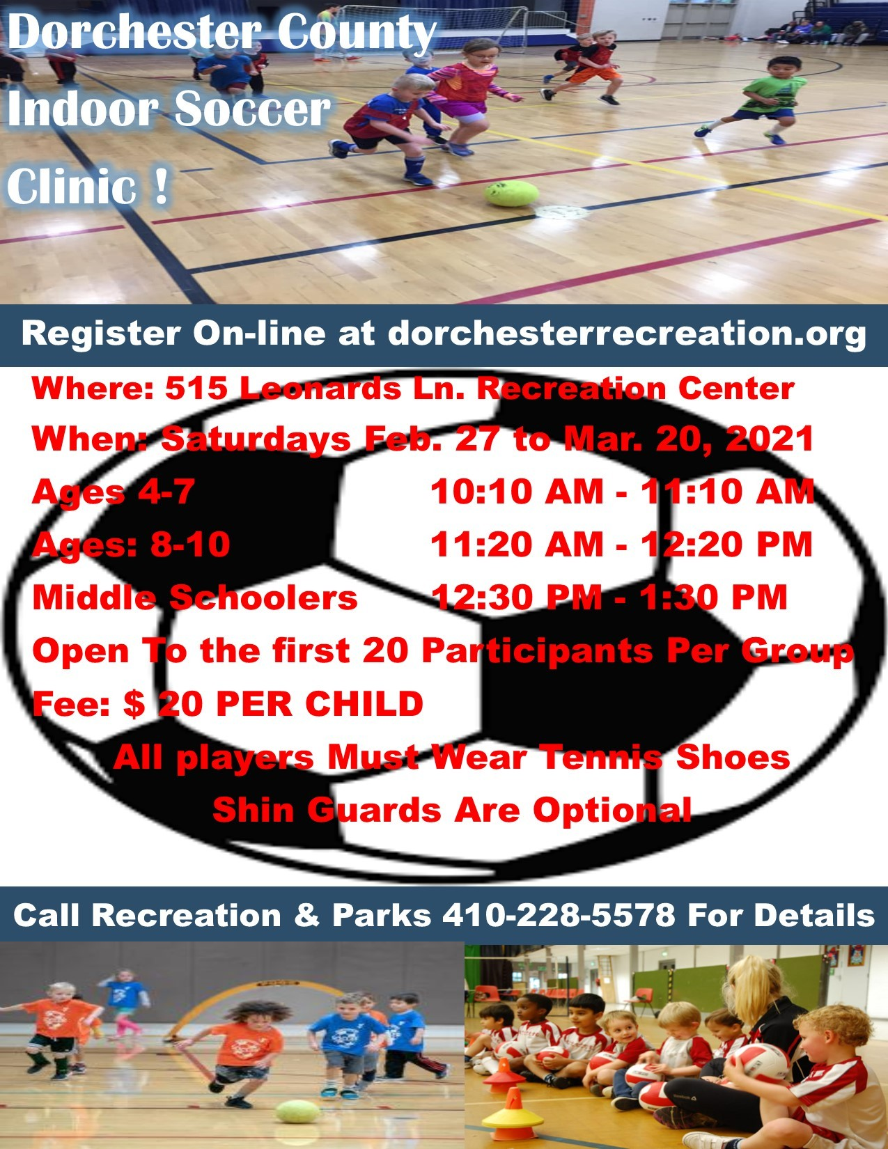 Dorchester County INDOOR YOUTH SOCCER CLINIC